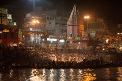 View of Night Puja. Ghats at the holy river of Ganga in Varanasi, Uttar Pradesh, India Stock Image