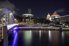 View of night Singapore from Boat Quay Royalty Free Stock Photos