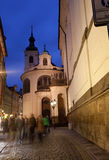 View of the night street in Prague Royalty Free Stock Image