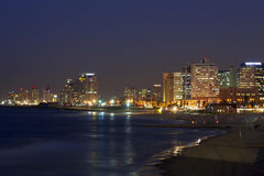 View of the night Tel Aviv and the Mediterranean Sea at Night Stock Image