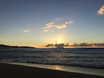 View of Niihau Island from Barking Sands Beach at Polihale State Park on Kauai Island. Royalty Free Stock Photo