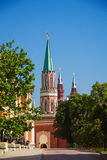 View of Nikolskaya tower from Kremlin in Moscow Stock Photo