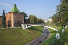 View of Nikolskaya tower and pedestrian bridge, day in August. Nizhny Novgorod Royalty Free Stock Image