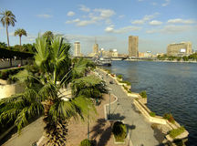 View of the Nile river and city skyline, Cairo Royalty Free Stock Photography