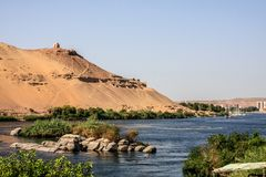 View on the Nile river and the tombs of nobles. stock photography