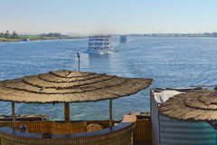 The view on the Nile sailing boats (hotels). Royalty Free Stock Photos