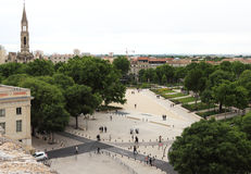 View of Nimes from Roman Amphitheater in France Stock Photo