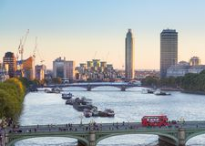 View of Nine Elms redevelopment London. LONDON, UK - OCTOBER 1, 2015: Aerial view of Nine Elms redevelopment and St George Wharf with Tower on South Bank London Royalty Free Stock Photo