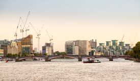 View of Nine Elms redevelopment London. LONDON, UK - OCTOBER 1, 2015: Detail view of Nine Elms redevelopment and St George Wharf on South Bank London England Stock Images
