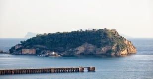 View of Nisida island in the gulf of Pozzuoli Royalty Free Stock Photos