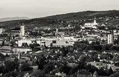 Nitra city, Slovakia, evening urban scene, colorless stock photography