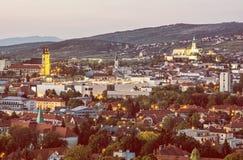 Nitra city, Slovakia, evening urban scene, yellow filter stock photography