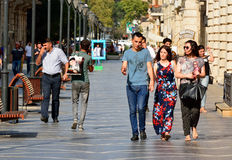 View of Nizami street in Baku, with people. royalty free stock photo