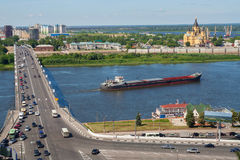View of Nizhny Novgorod cityscape, bridge over river. Royalty Free Stock Photo