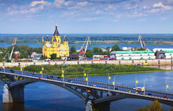 View of Nizhny Novgorod with Kanavinsky Bridge Stock Image