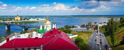 Kanavinsky bridge and Junction of Oka river with Volga Royalty Free Stock Photography