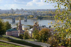 View of Nizhny Novgorod with Kanavinsky Bridge Royalty Free Stock Images