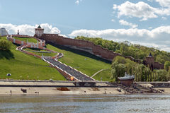 View of the Nizhny Novgorod Kremlin and Chkalov Stairs from the Volga River. Nizhny Novgorod Kremlin and Chkalov Stairs on May holidays Stock Images