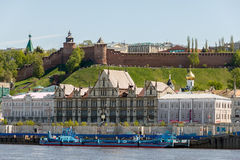 View of the Nizhny Novgorod Kremlin and Nizhne-Volzhskaya Embankment from the Volga River. View from the Volga River on the Nizhny Novgorod Kremlin and Nizhne Royalty Free Stock Images