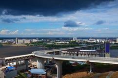 View of Nizhny Novgorod.  Metro Bridge Stock Photos