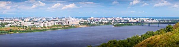 View of Nizhny Novgorod with Metro Bridge Royalty Free Stock Photos
