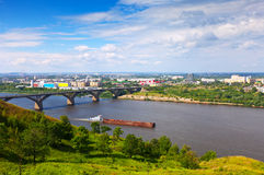 View of Nizhny Novgorod with Molitovsky bridge. Through Oka River. Russia royalty free stock photo