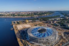 View of Nizhny Novogorod Stadium, building for the 2018 FIFA World Cup in Russia royalty free stock image