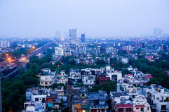 View of noida city at dawn from skyscraper Royalty Free Stock Photo