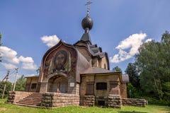 Non-canonical Temple of the spirit 1905 in the estate Talashkino in the Smolensk region. Russia. View of The Non-canonical Temple of the spirit 1905 in the stock photos