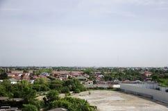 View of Nonthaburi city from MRT Purple Line skytrain running go Stock Photo