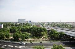 View of Nonthaburi city from MRT Purple Line skytrain running go Stock Image