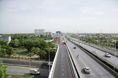 View of Nonthaburi city from MRT Purple Line skytrain running go Royalty Free Stock Photos