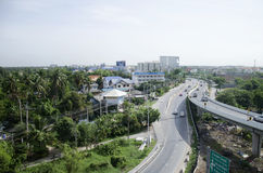 View of Nonthaburi city from MRT Purple Line skytrain running go Royalty Free Stock Photography