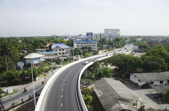 View of Nonthaburi city from MRT Purple Line skytrain running go Royalty Free Stock Images