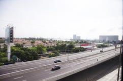 View of Nonthaburi city from MRT Purple Line skytrain running go Stock Photos