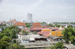 View of Nonthaburi city from MRT Purple Line skytrain running go Royalty Free Stock Image
