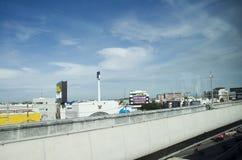 View of Nonthaburi city from MRT Purple Line skytrain Stock Photos
