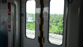 View of Nonthaburi city from MRT Purple Line skytrain stock video