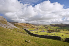 View from Norber Erratics down Wharfe Dale in Yorkshire Dales Royalty Free Stock Photos