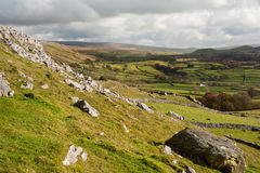 View from Norber Erratics down Wharfe Dale in Yorkshire Dales Na Stock Photography