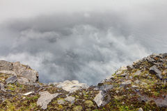 View from Nordkapp. With mountain and mist Royalty Free Stock Photo