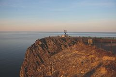 View of Nordkapp, the North Cape, Norway, the northernmost point of mainland Norway and Europe. Finnmark County Royalty Free Stock Photography