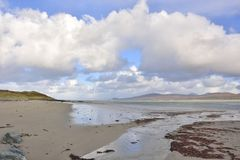 Scenic Islay. View north along the beautiful sandy beach at Ardnave, NW of Loch Gruinart, a popular haunt of walkers and birdwatchers, island of Islay, Scotland royalty free stock photo