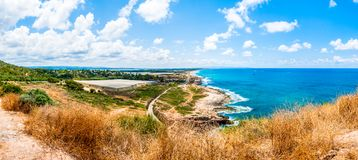 View on North Galilee nature and Mediterranean Sea coast from Rosh Hanikra National Park in Israel. Panoramic view on North Galilee nature and Mediterranean Sea stock image