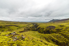 View on a north ocean from hill in Iceland Stock Photo