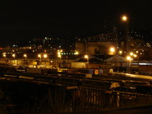 2005 View of North Portland Train Yard. Shows night view of North Portland train yard in Portland, OR in 2005 Royalty Free Stock Photos