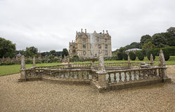 View of north Side of Montacute House  including fountain Stock Images