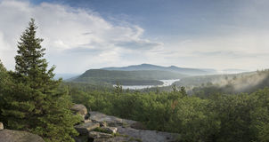 View of North South Lakes and Kaaterskill High Peak in the Catskill Mountains of New York. View from Sunset Rock in the eastern Catskill Mountains of North South Stock Photos