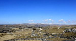 Ribblesdale with Ingleborough and Whernside. View North West from a minor road to the NE of Langcliffe looking across Ribblesdale in the Horton in Ribblesdale Royalty Free Stock Images