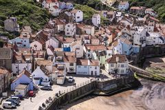 A view of the North Yorkshire UK village of Staithes, seen here stock images